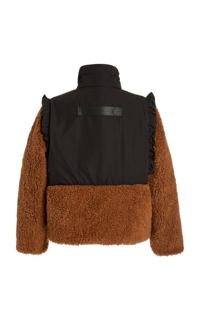 Mia Shearling and Shell Cropped Coat