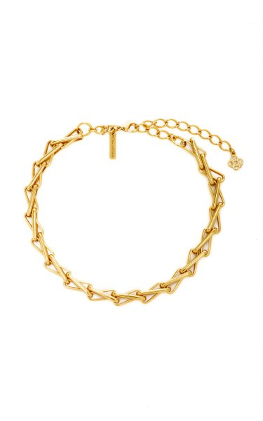 Chain-Link Intertwined Pewter and Brass Necklace