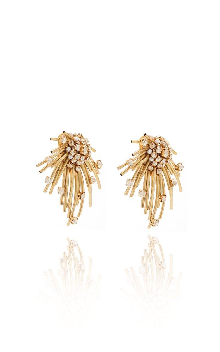 Firework Brass and Glass Stud Earrrings