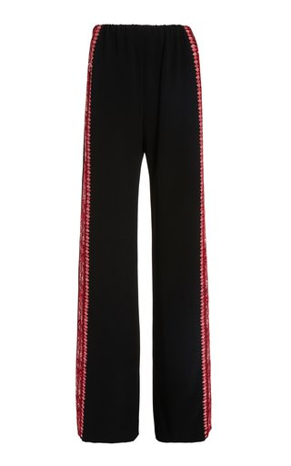 Embroidered Flared Silk Pants