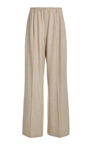 Flannel Woven Wide-Leg Pants