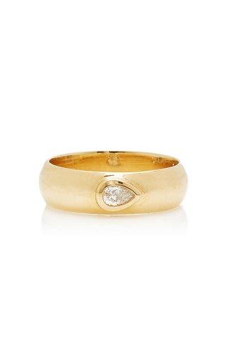 14K Yellow Gold & Pear Cut Diamond Band