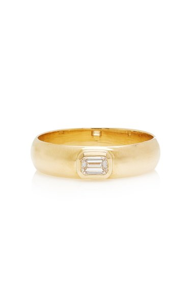 14K Yellow Gold & Emerald Cut Diamond Band