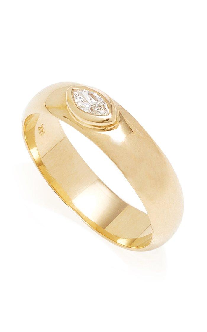 14K Yellow Gold & Marquis Cut Diamond Band