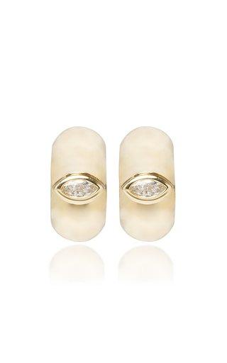14K Gold And Diamond Hoop Earrings