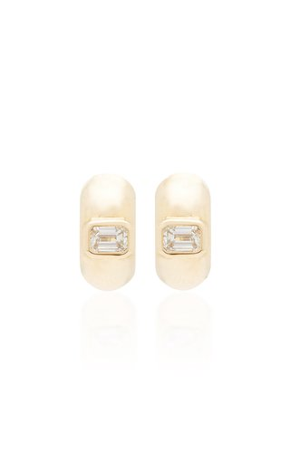 14K Yellow Gold & Emerald Cut Diamond Huggies