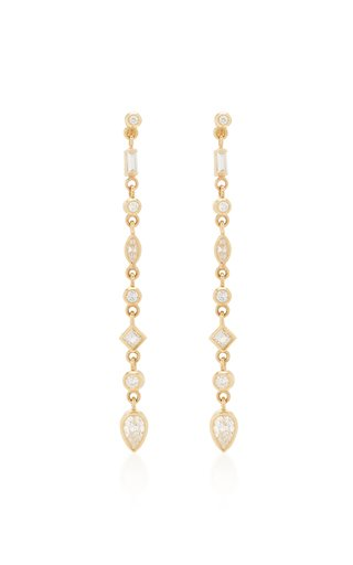 14K Yellow Gold & Diamond Drop Earrings