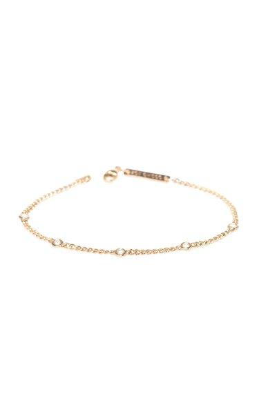 14K Yellow-Gold and Diamond Chain Bracelet