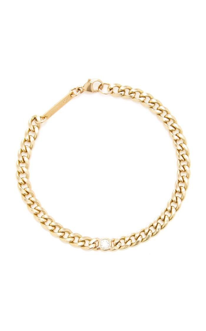 14K Yellow Gold & Diamond Curb Chain Bracelet