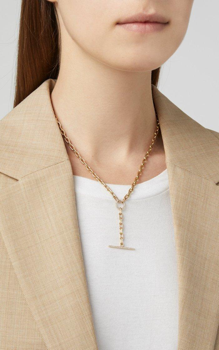 14K Yellow Gold & Diamond Toggle Lariat Necklace
