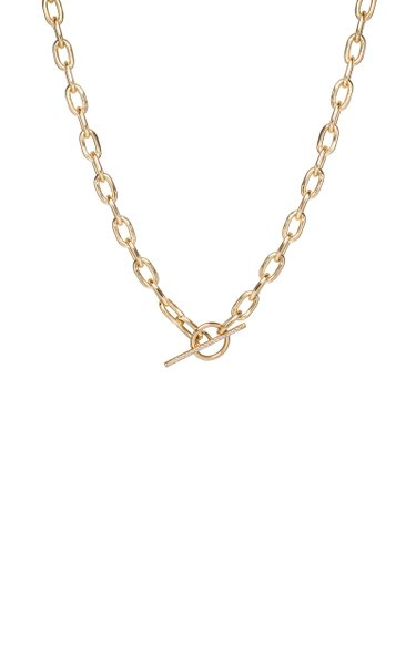 14K Yellow Gold and Diamond Toggle Necklace