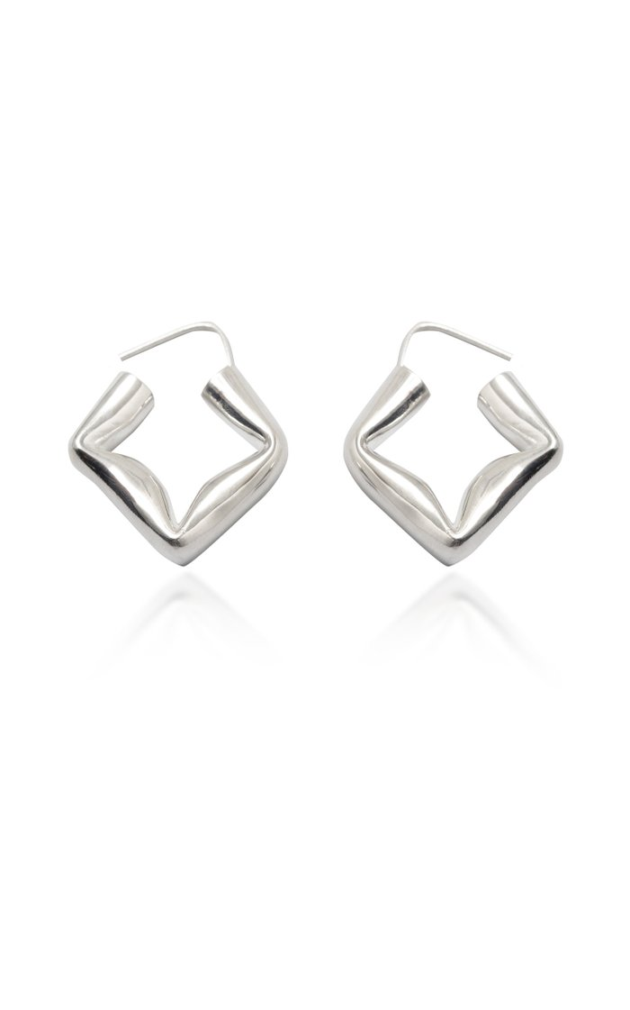 Straw Earrings Polished Silver