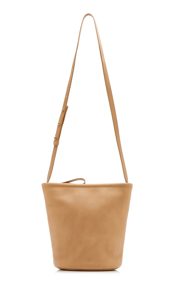 Zip-up Leather and Canvas Bucket Bag