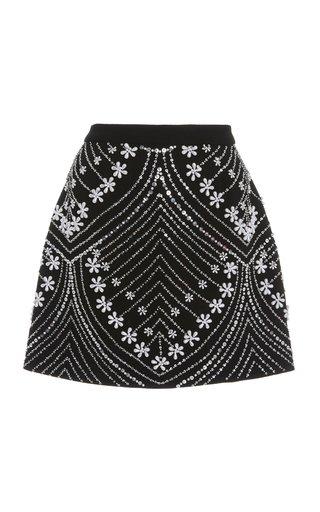 Pearl-Embellished Stretch Wool Mini Skirt