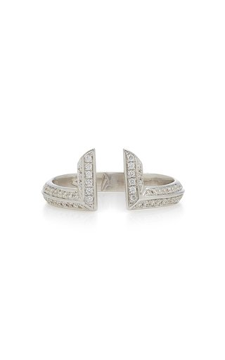 Phoenician Script 18K White Gold Diamond Ring