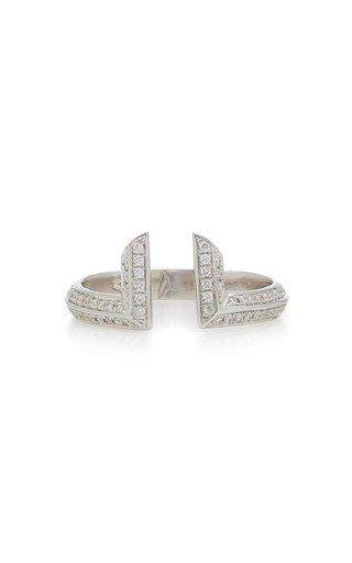 Phoenician Script 18K White Gold Diamond Ring