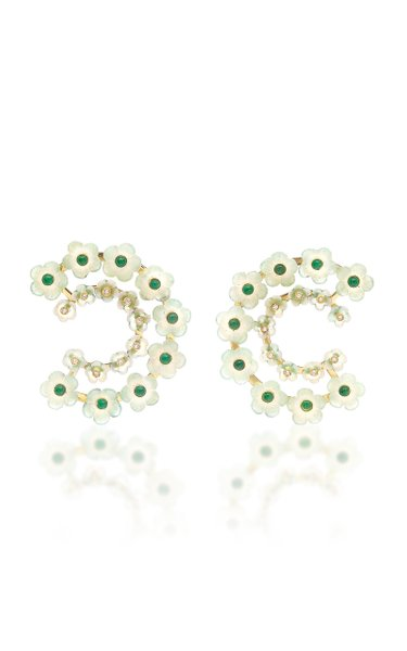 18K Gold Mother Of Pearl Multi-Stone Earrings