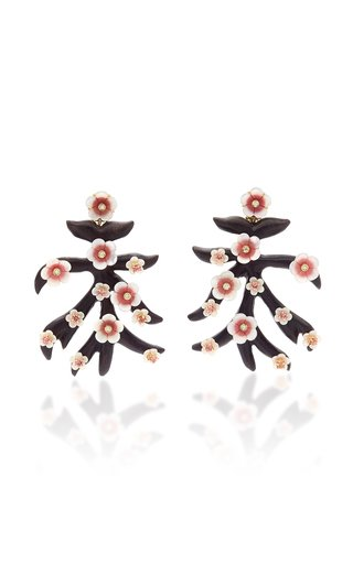18K Gold, Pink Quartzite and Ebony Branch Earrings