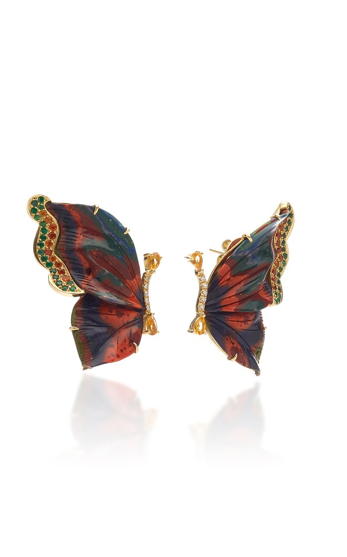 18K Gold, Chrysocolla, Diamond and Mixed Stone Butterfly Earrings