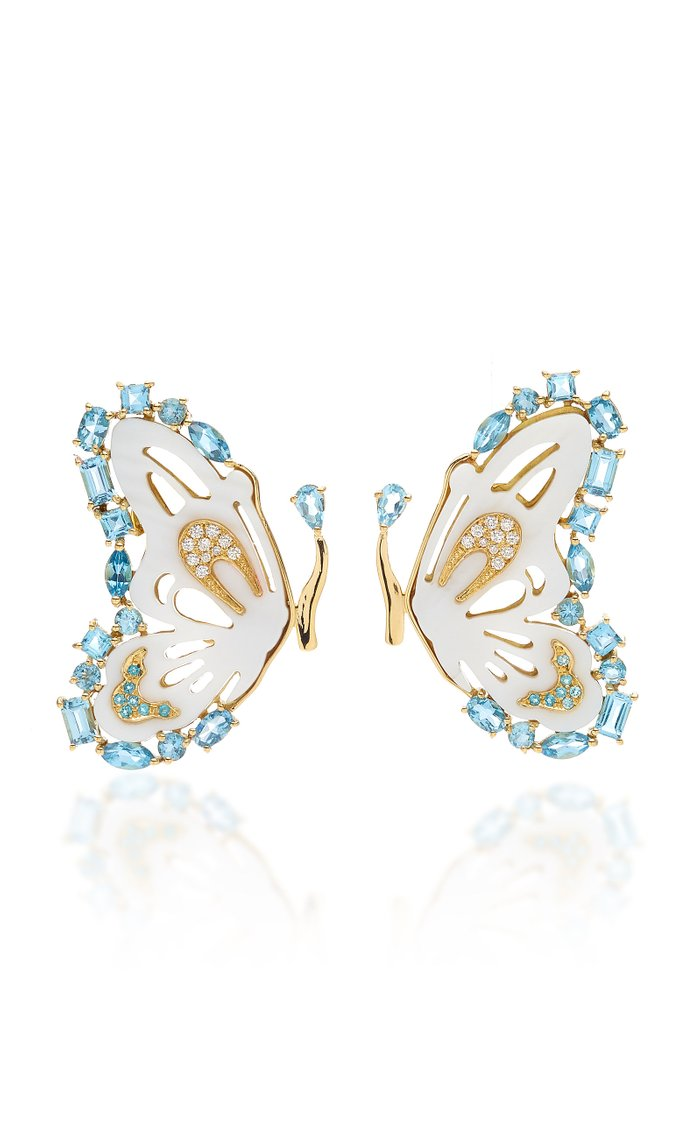 18K Gold Diamond And Mother Of Pearl Butterfly Earrings