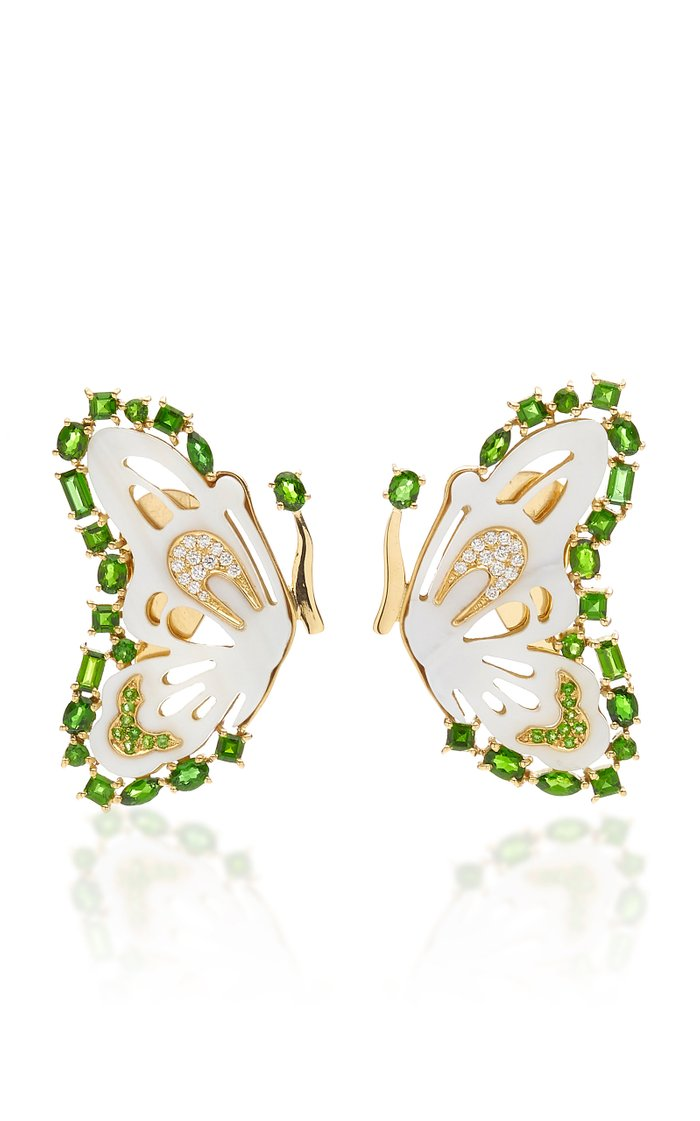 18K Gold, Mother of Pearl and Tsavorite Butterfly Earrings