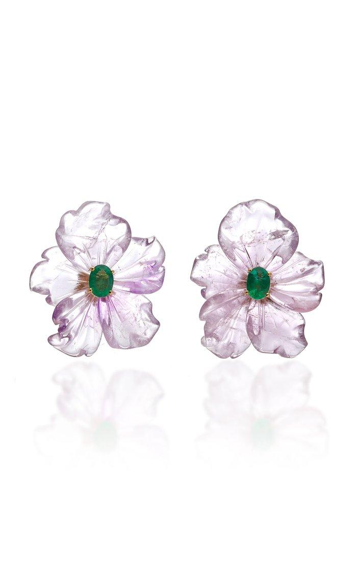 18K Gold, Amethyst and Emerald Flower Earrings