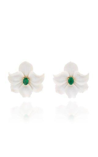 18K Gold, Diamond and White Agate Flower Earrings