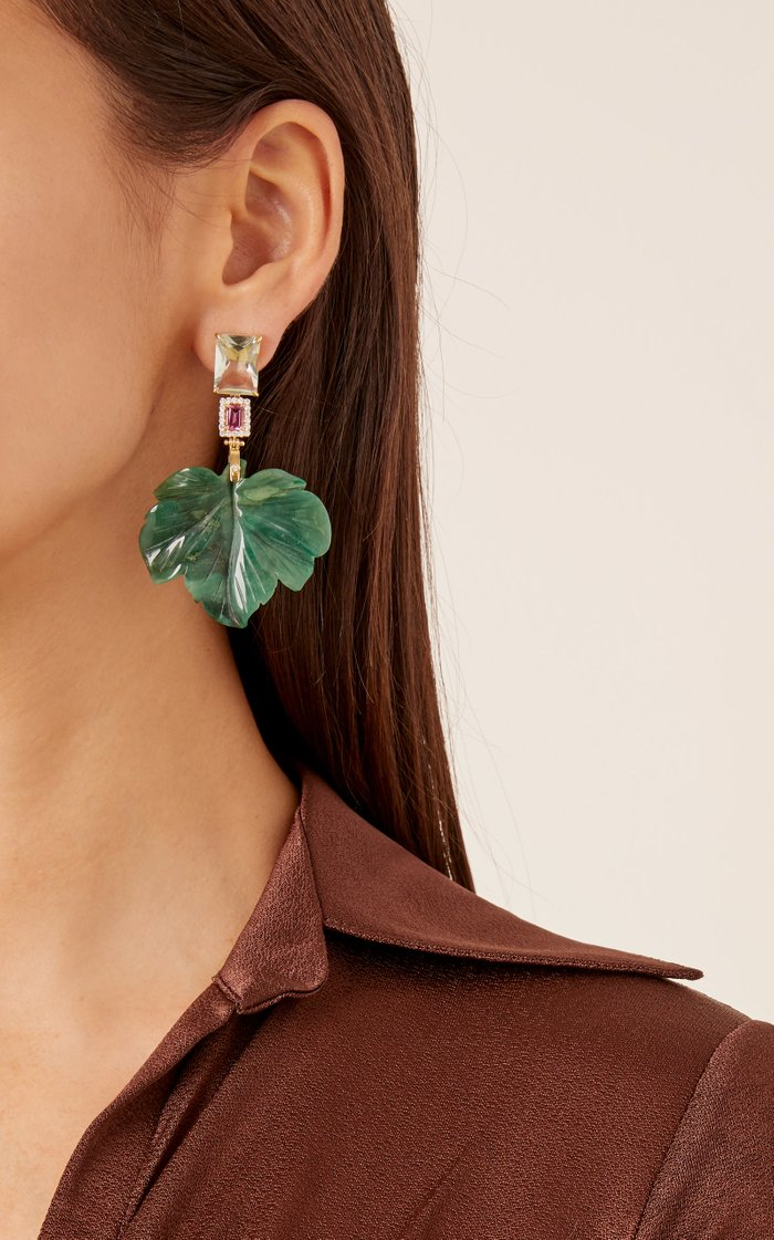 18K Gold, Diamond, and Amethyst Forest Jade Earrings