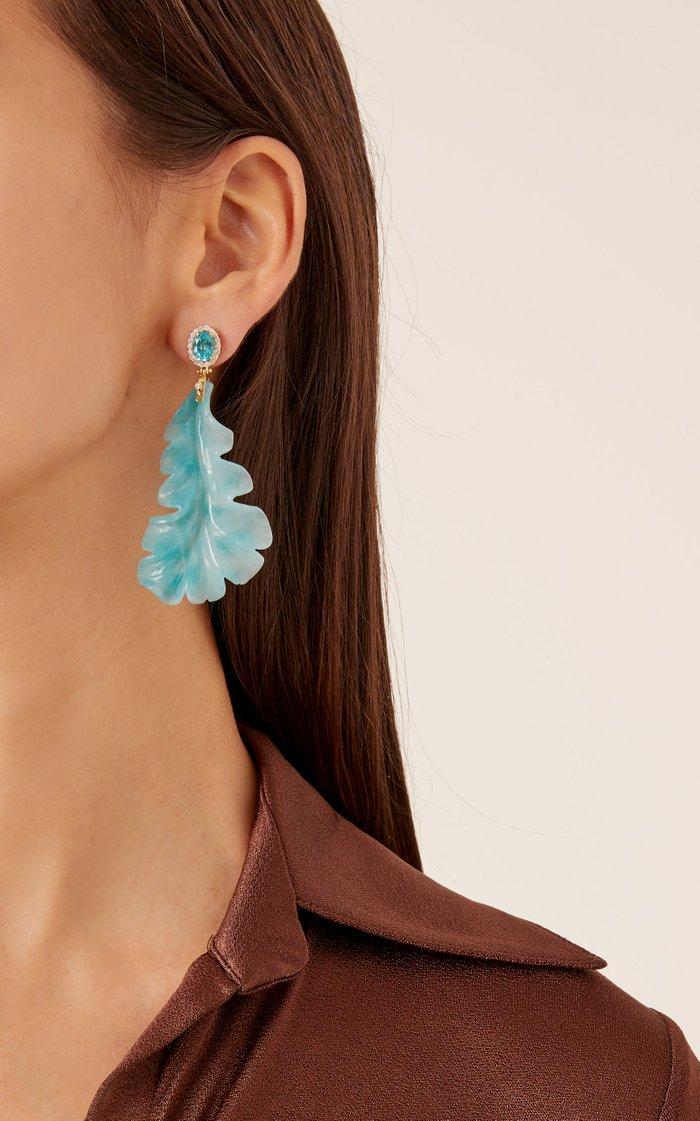 18K Gold Quartzite And Diamond Earrings