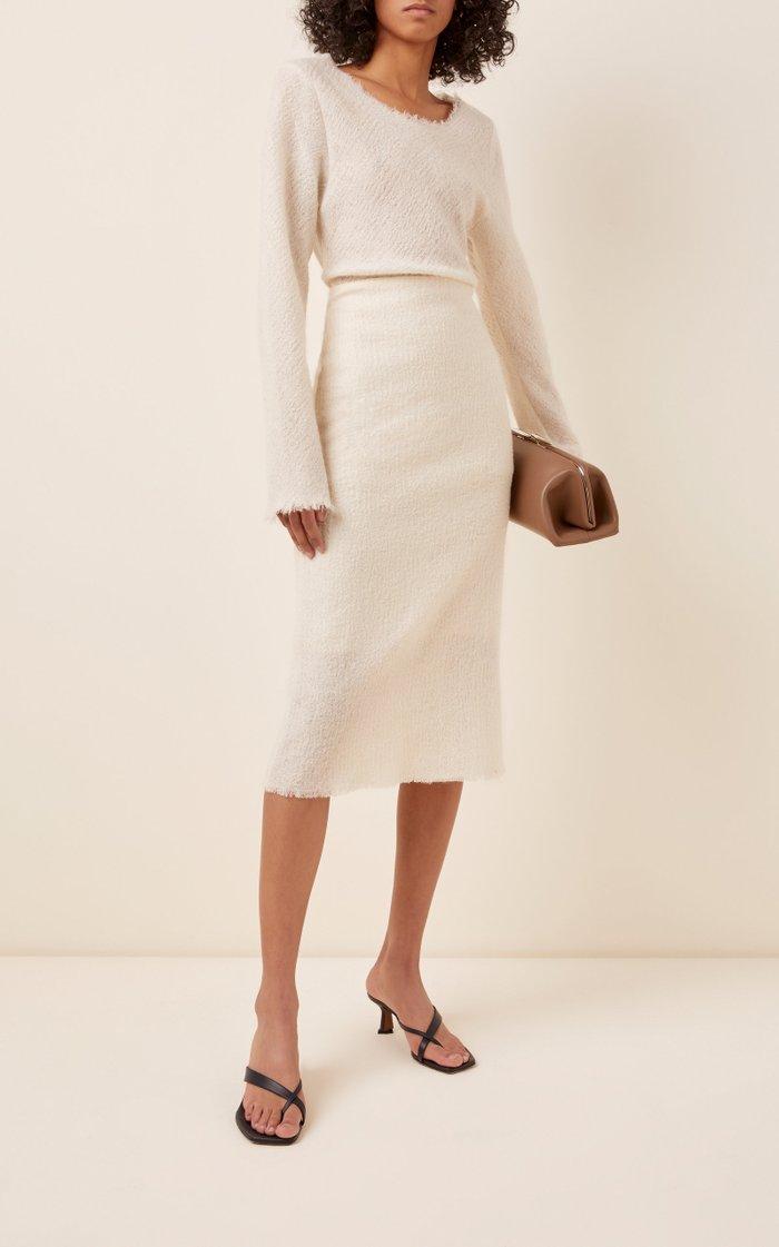 Embron Textured Wool-Blend Skirt