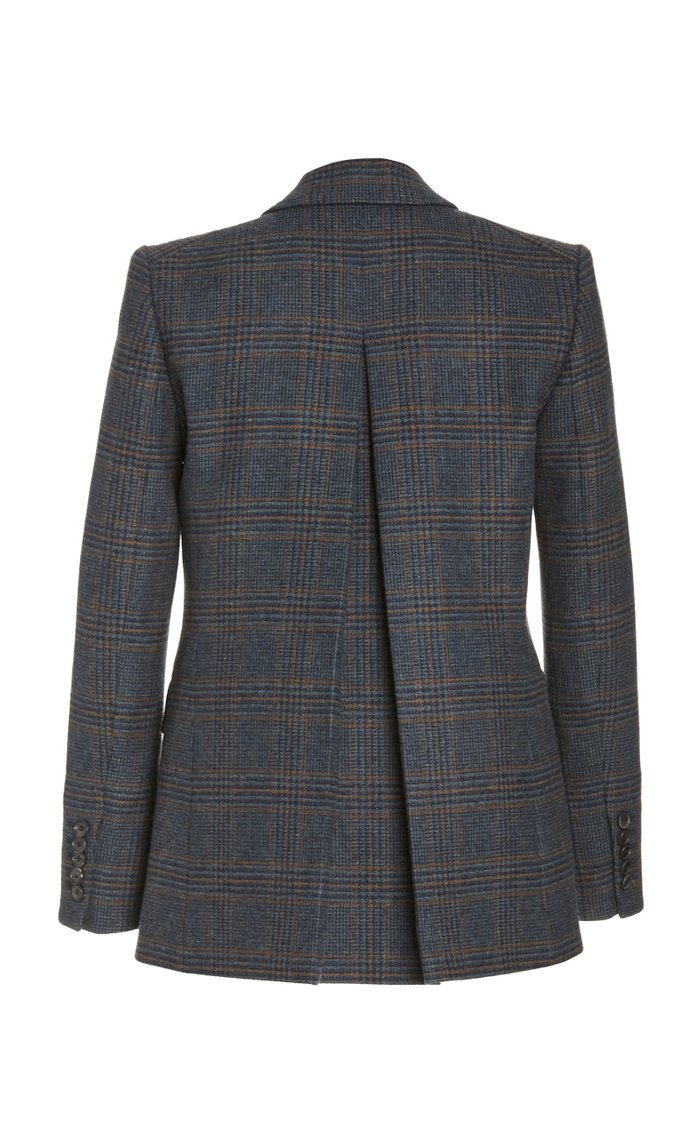 Yareli Plaid Wool Double-Breasted Blazer