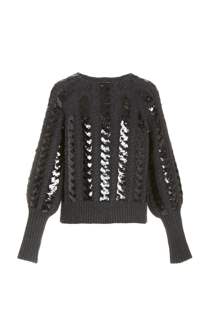 Yola Sequined Cable-Knit Sweater