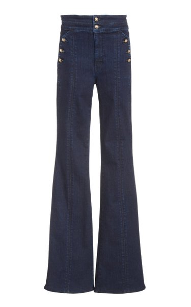 Beverly Button-Detailed High-Rise Flared-Leg Jeans