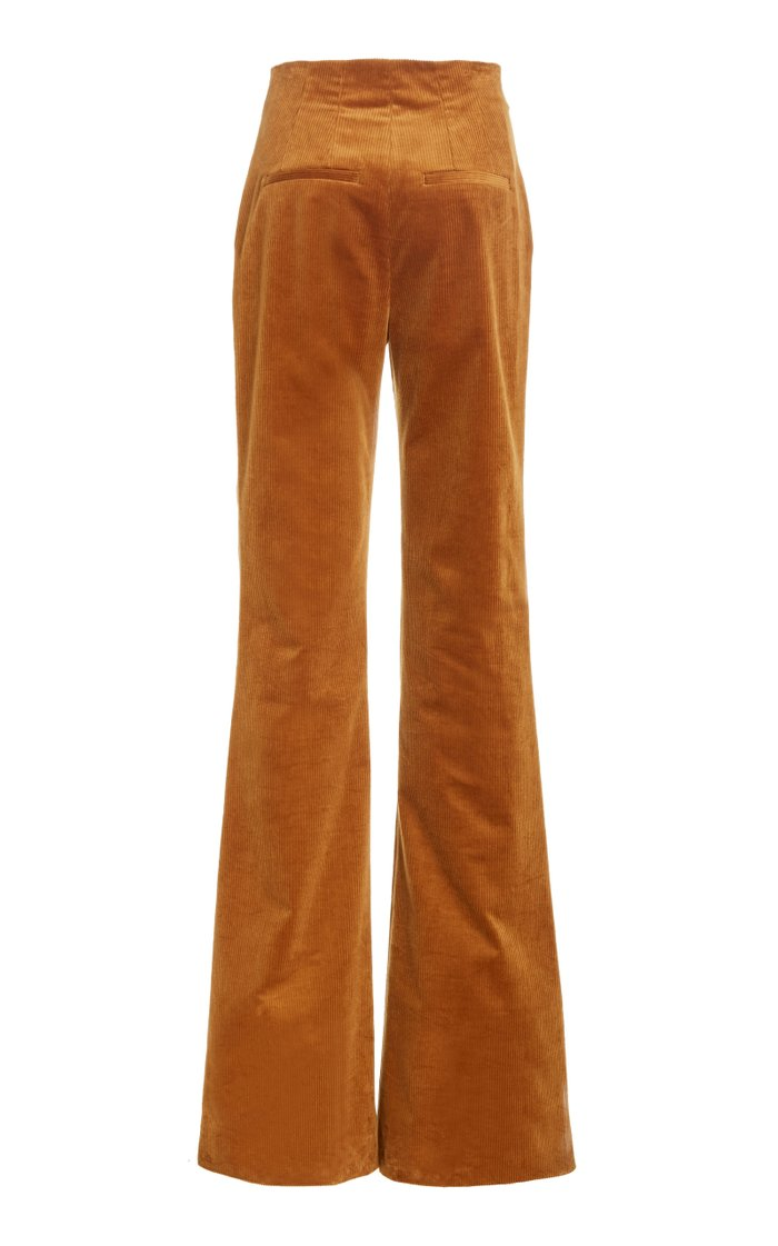 Basima Cotton Corduroy Flared-Leg Trousers