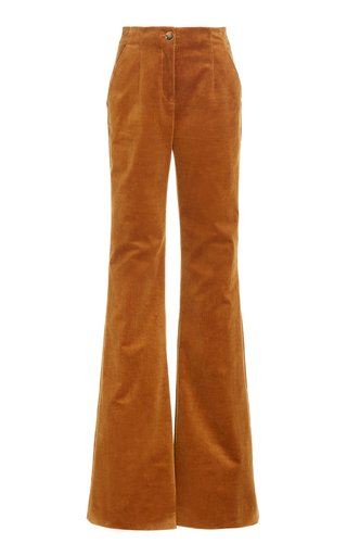 Basima Cotton Corduroy Flared-Leg Trousers