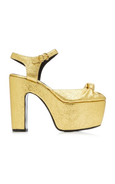 Rink Knotted Metallic Leather Platform Sandals
