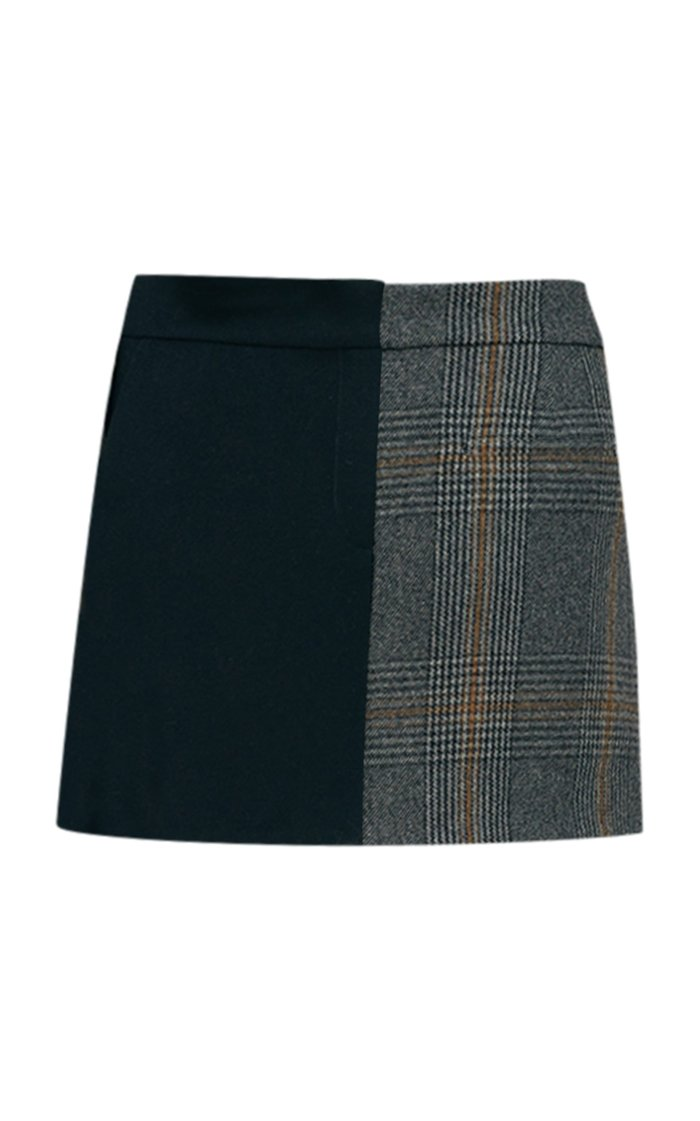 Mats Dual-Print Wool-Blend Mini Skirt