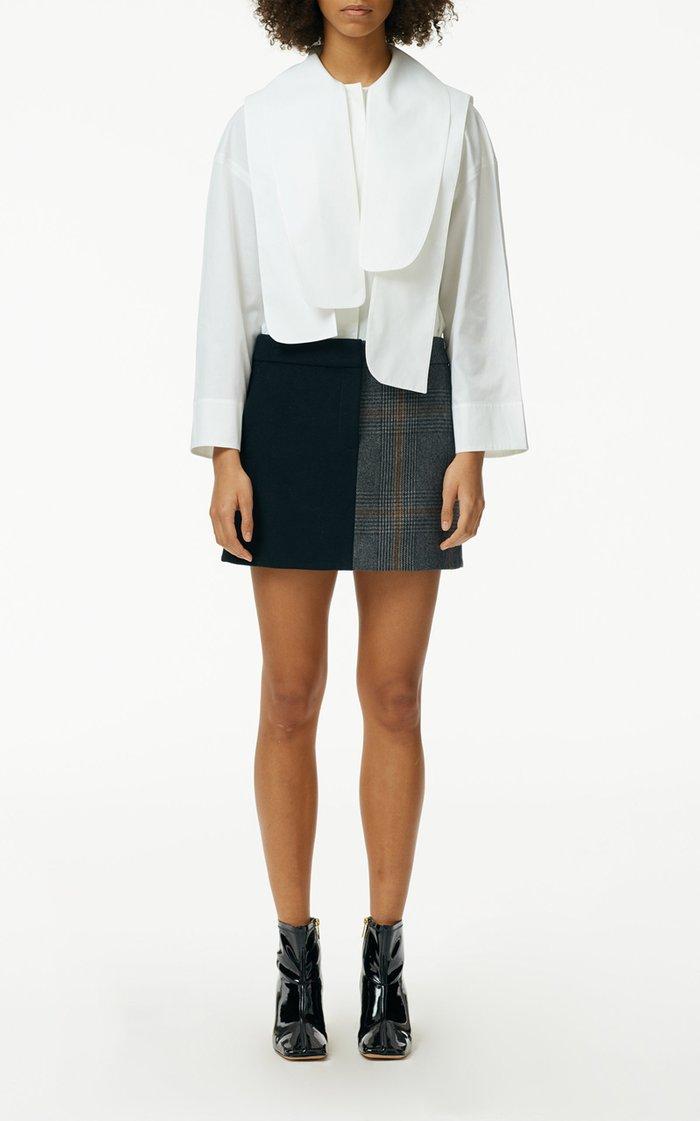 Mats Dual-Print Wool-Blend Mini Skirt