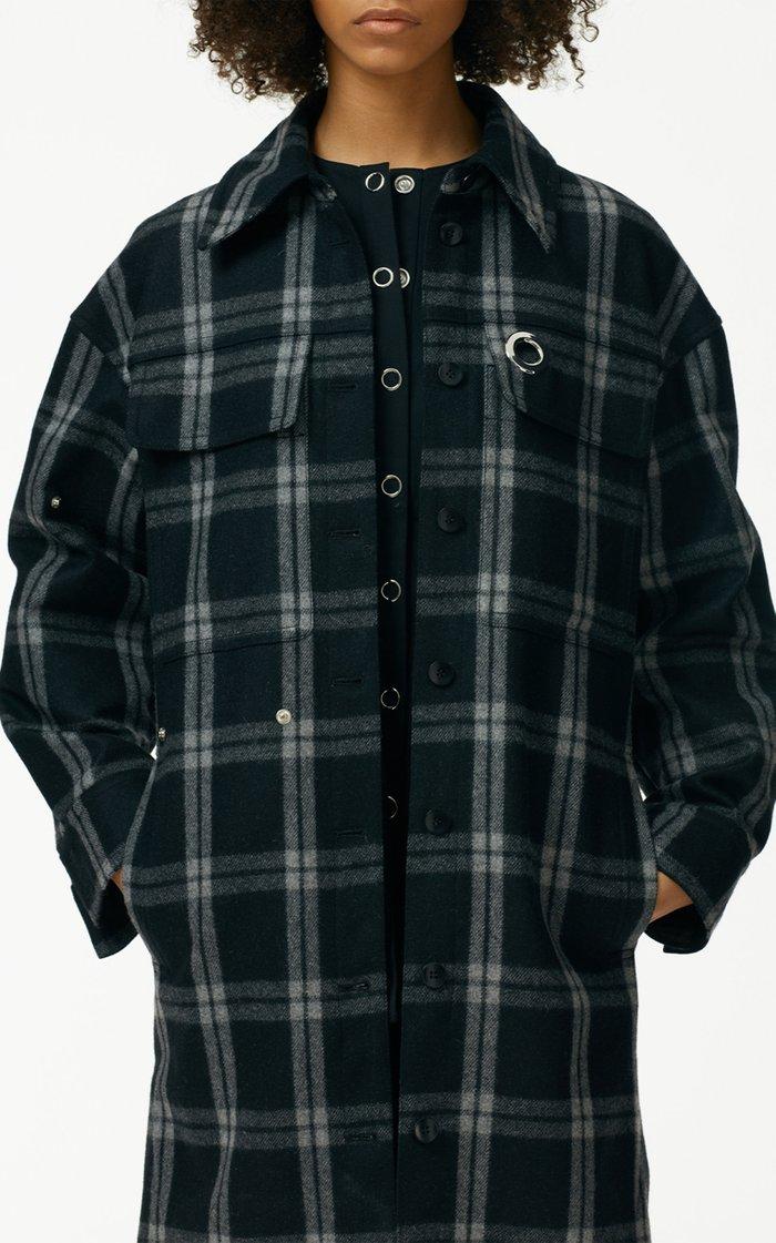 Chester Plaid Oversized Wool-Blend Shirt Coat