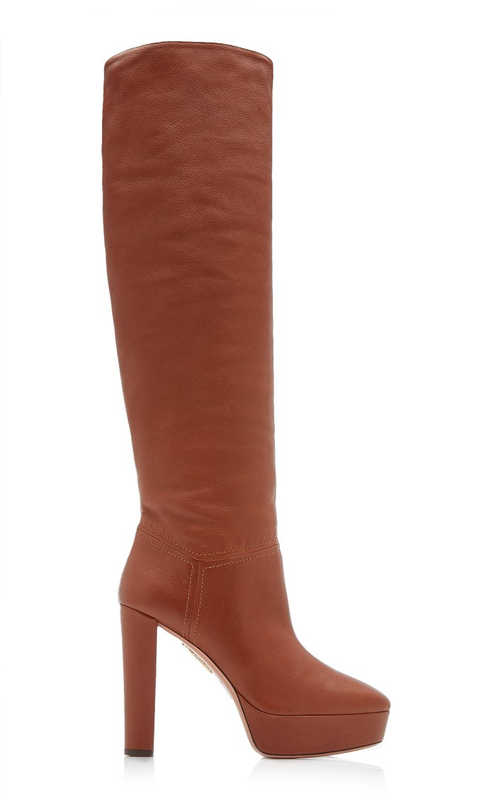 Chambord Platform Leather Knee Boots