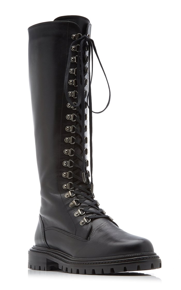 Leather Knee-High Combat Boots