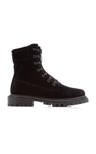 Zip-Up Velvet Ankle Boots
