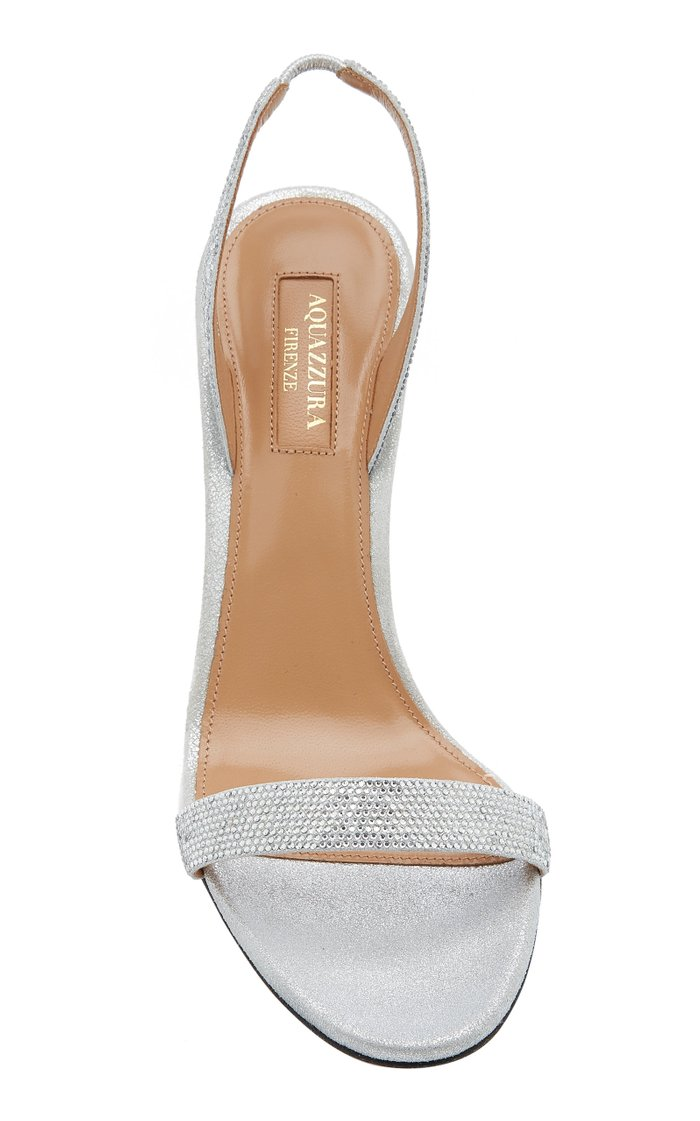 So Nude Crystal-Embellished Metallic Leather Sandals