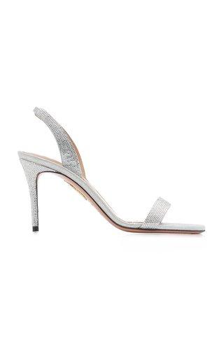 So Nude Crystal-Embellished Metallic Leather Sandals