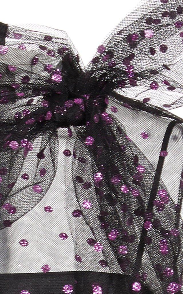 Glittered Polka-Dot Organza Mini Dress