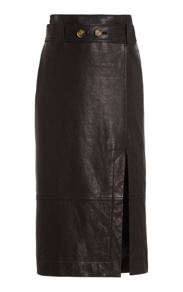 Mia Belted Leather Midi Skirt