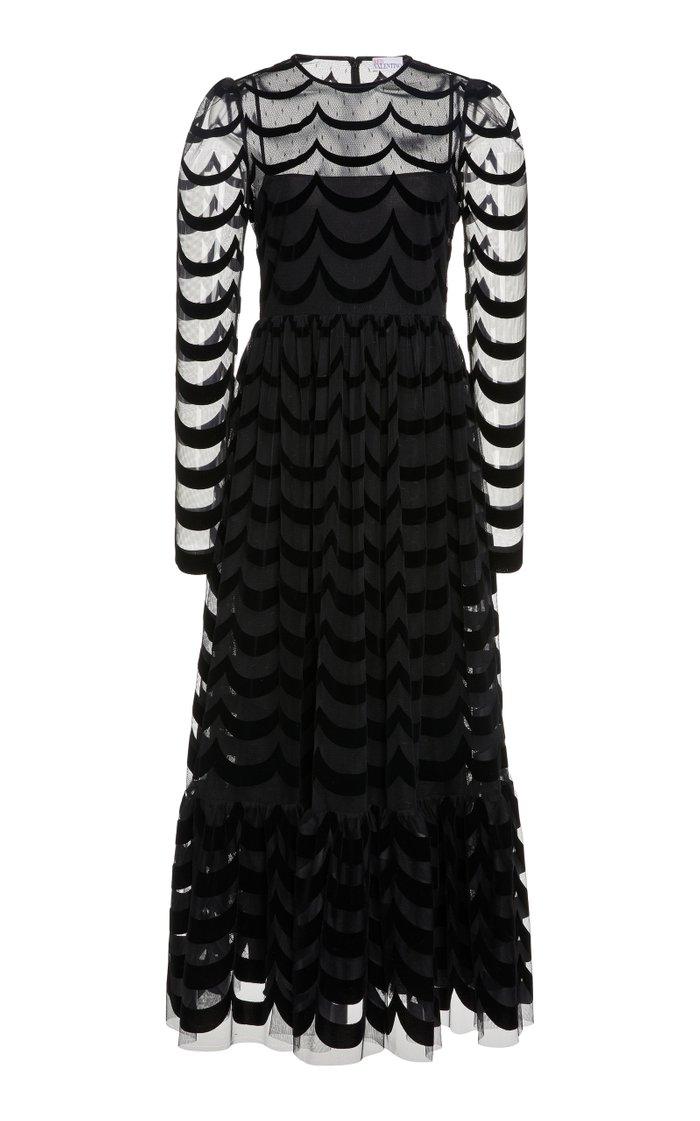 Striped Semi-Sheer Crepe-Devore Gown