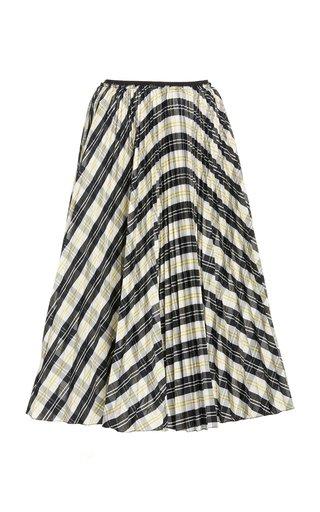 Pleated Tartan-Plaid Crepe Skirt