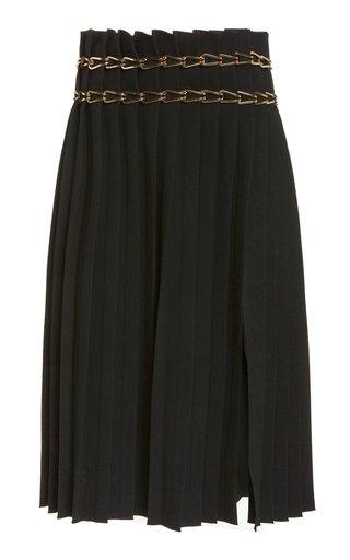 Chain-Detailed Crepe Skirt