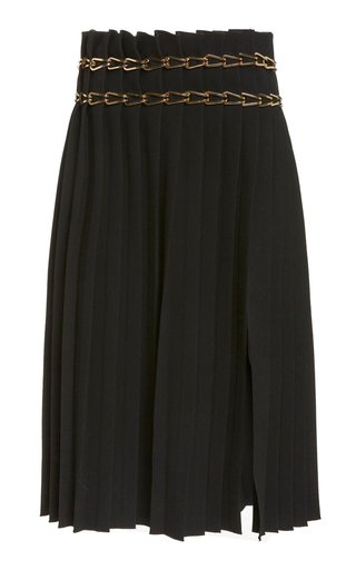 Chain-Detailed Crepe Skirt